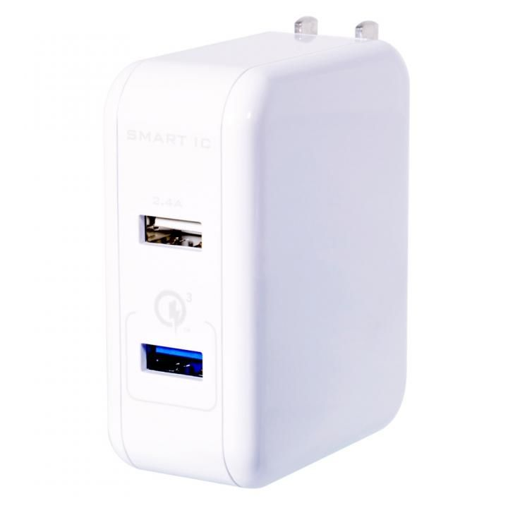 Quick Charge 3.0とSmart IC搭載の2ポートAC充電器 ホワイト_0