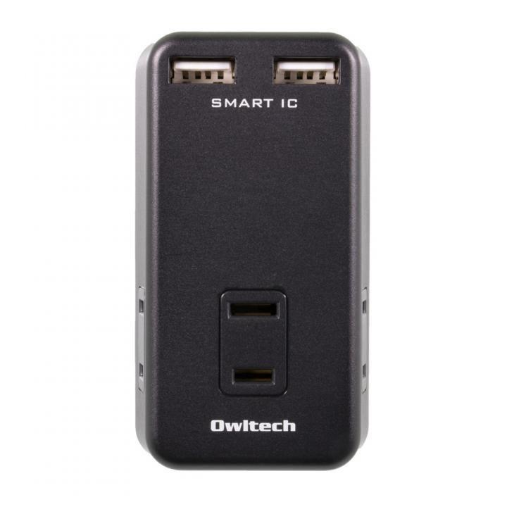 ACコンセント×3搭載 USBポート2台同時かしこく充電 マルチAC充電器 ブラック_0