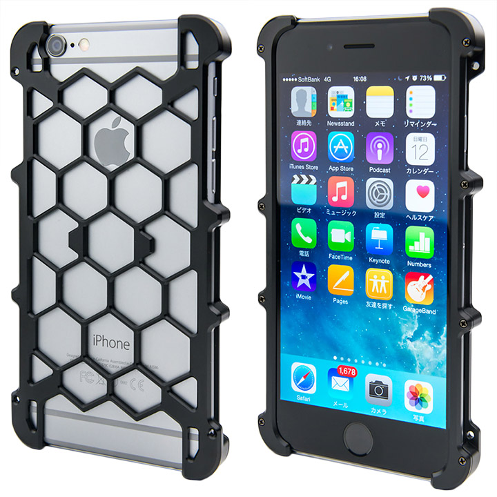 iPhone6 ケース アルミ削り出し プロテクターケース ブラック iPhone 6s/6_0