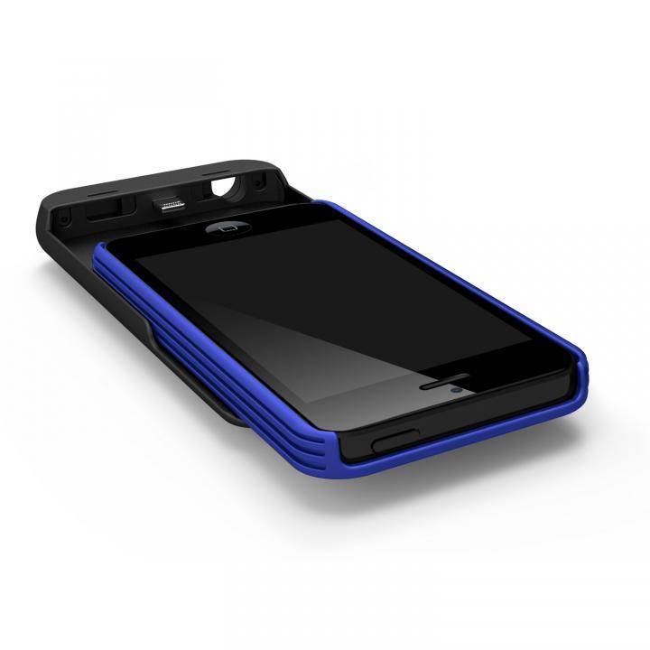 [2500mAh]9mm極薄 バッテリー内蔵ケース ブルー iPhone SE/5s/5ケース