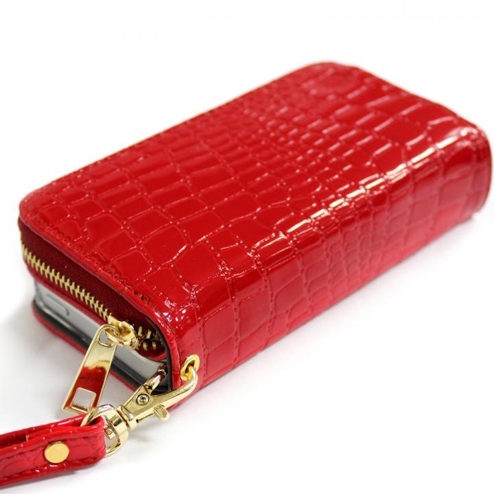iPhone SE/5s/5 ケース お財布付き手帳型ケース Zipper クロコエナメル レッド iPhone SE/5s/5ケース_0