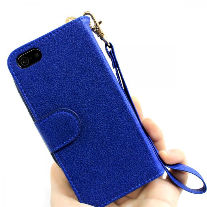 iPhone SE/5s/5 ケース お財布付き手帳型ケース Zipper ブルー iPhone SE/5s/5ケース_0