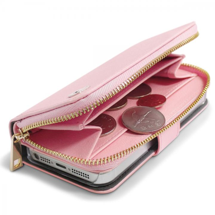 お財布付き手帳型ケース Zipper ピンク iPhone SE/5s/5ケース