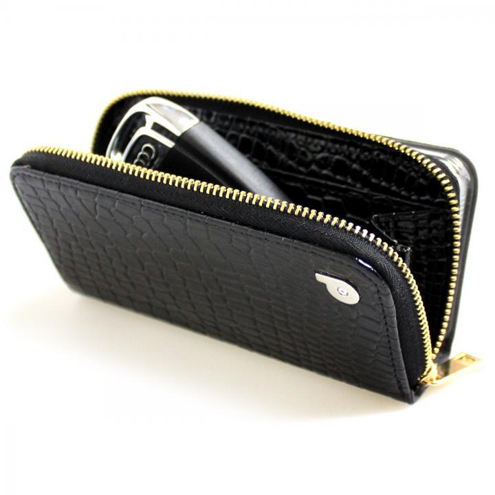 iPhone SE/5s/5 ケース お財布付き手帳型ケース Zipper クロコエナメル ブラック iPhone SE/5s/5ケース_0