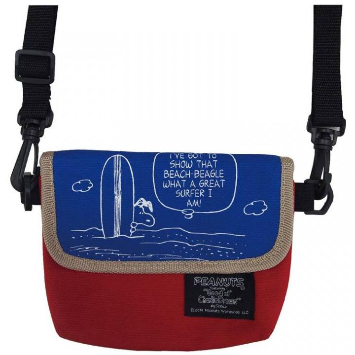【iPhone SE/5s/5ケース】ちょこっとお出かけ ピーナッツ ヴィンテージ ミニミニメッセンジャーバッグ サーフ柄_0
