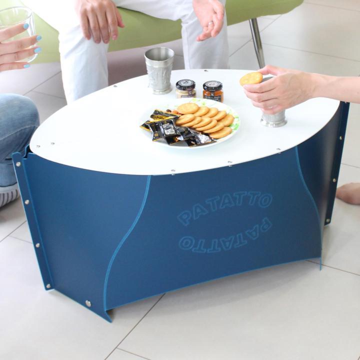折りたたみテーブル PATATTO TABLE ネイビー×ペールホワイト_0