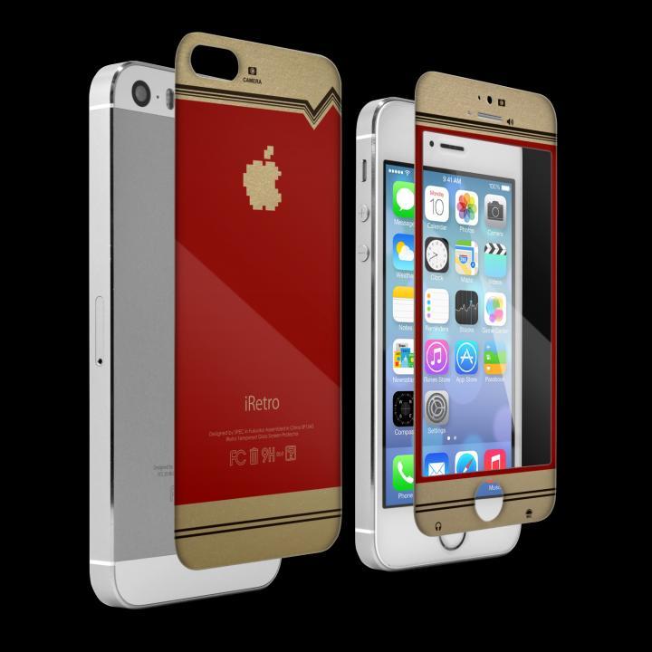 iPhone SE/5s/5 フィルム [0.4mm]レトロゲーム機風デザイン 液晶保護強化ガラス iPhone5s/5_0