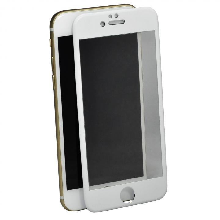 iPhone6 フィルム アルミフレーム液晶保護強化ガラスフィルム ホワイト iPhone 6_0
