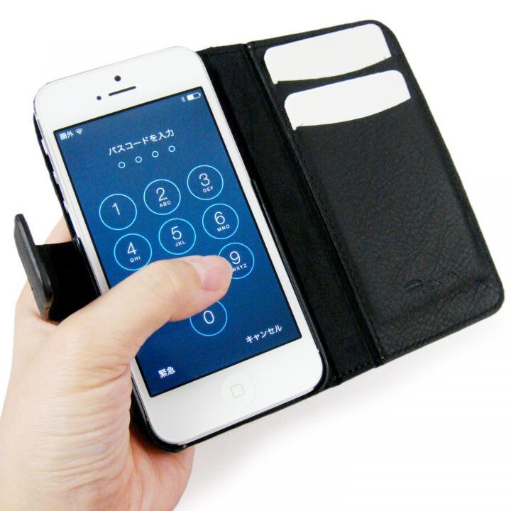 左利きの方におすすめ! 右開き 本革手帳型ケース ローテーティングフォリオ ブラック iPhone SE/5s/5ケース