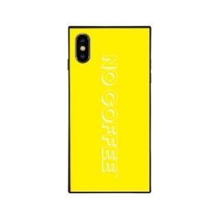 iPhone XS/X ケース NO COFFEE  NC LOGO スクエア型 ガラスケース YELLOW/WHITE iPhone XS/X