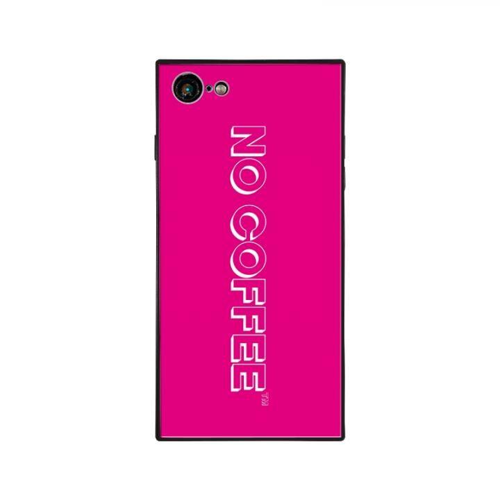 iPhone8/7 ケース NO COFFEE  NC LOGO スクエア型 ガラスケース PINK/WHITE iPhone 8/7【1月下旬】_0