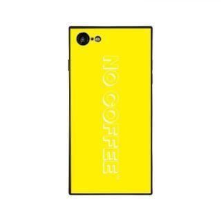iPhone8/7 ケース NO COFFEE  NC LOGO スクエア型 ガラスケース YELLOW/WHITE iPhone 8/7