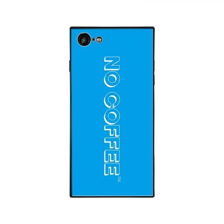 iPhone8/7 ケース NO COFFEE  NC LOGO スクエア型 ガラスケース BLUE/WHITE iPhone 8/7_0