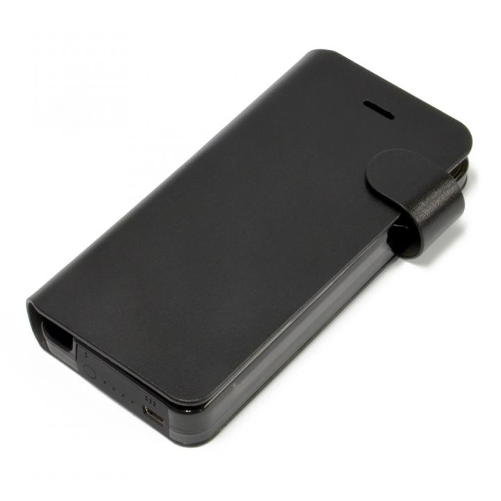 iPhone SE/5s/5 ケース Leather Battery 手帳型ケース  iPhone5 Black_0
