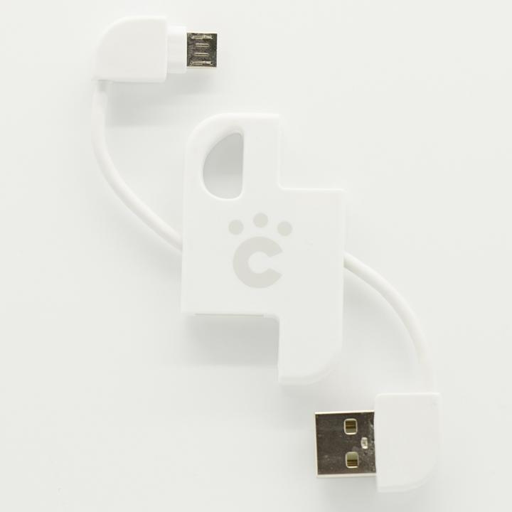 cheero Plate Cable キーホルダー型microUSBケーブル ホワイト
