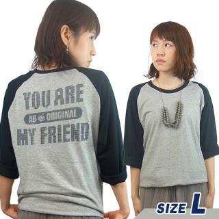 AppBank 7分袖Tシャツ ヘザーグレー×ブラック Lサイズ【8月下旬】
