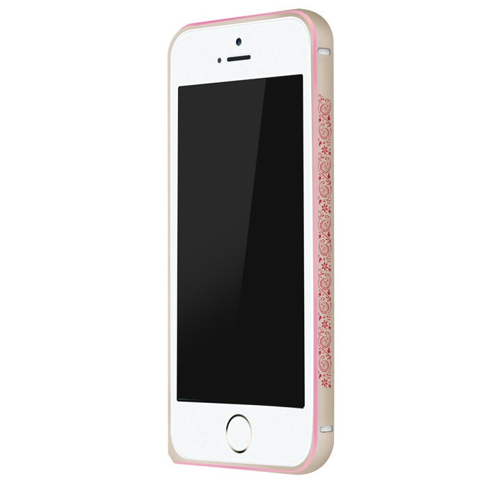 iPhone SE/5s/5 ケース 電波干渉を抑えたアルミバンパー ibacks Arc ゴールド&ペイズリー iPhone SE/5s/5バンパー_0