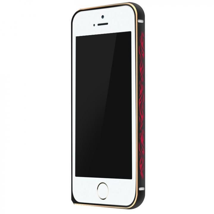 iPhone SE/5s/5 ケース 電波干渉を抑えたアルミバンパー ibacks Arc ブラック&ファイア iPhone SE/5s/5バンパー_0