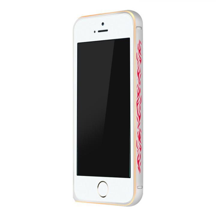 iPhone SE/5s/5 ケース 電波干渉を抑えたアルミバンパー ibacks Arc シルバー&ファイア iPhone SE/5s/5バンパー_0