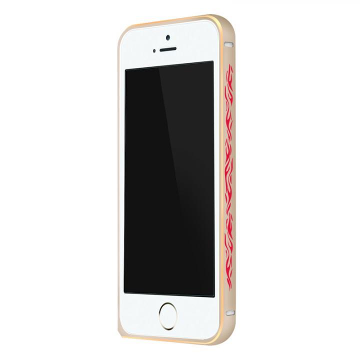 電波干渉を抑えたアルミバンパー ibacks Arc ゴールド&ファイア iPhone SE/5s/5バンパー