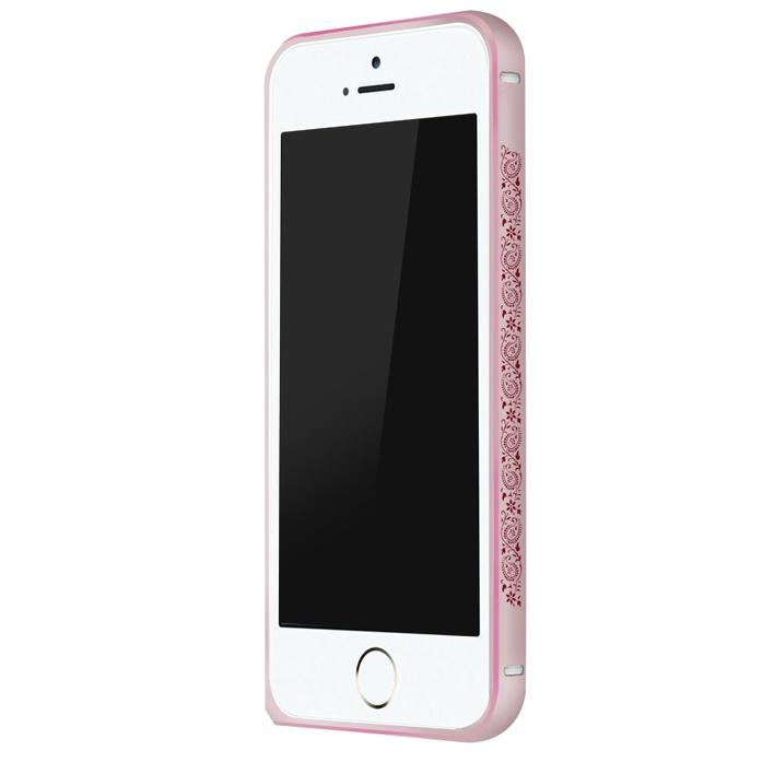iPhone SE/5s/5 ケース 電波干渉を抑えたアルミバンパー ibacks Arc ピンク&ペイズリー iPhone SE/5s/5バンパー_0