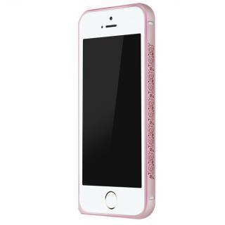 電波干渉を抑えたアルミバンパー ibacks Arc ピンク&ペイズリー iPhone SE/5s/5バンパー
