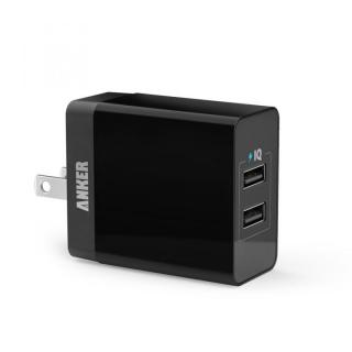 Anker 20W 2ポート USB急速充電器 PowerIQ搭載 ブラック