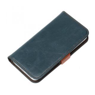 風合いの良いダメージ加工 Premium Style 手帳型ケース ブルー iPhone SE/5s/5ケース