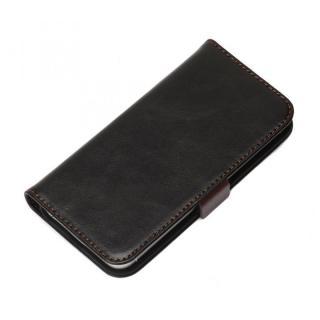 【8月下旬】風合いの良いダメージ加工 Premium Style 手帳型ケース ブラック iPhone 5s/5ケース