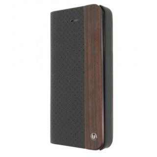 木と異素材のコンビネーション 手帳型ケース Per ated Material Black iPhone SE/5s/5ケース
