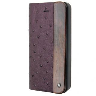木と異素材のコンビネーション 手帳型ケース Ostrich Material Purple iPhone SE/5s/5ケース