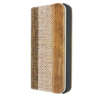 木と異素材のコンビネーション 手帳型ケース Linen Material Beige/Brown iPhone 5s/5ケース