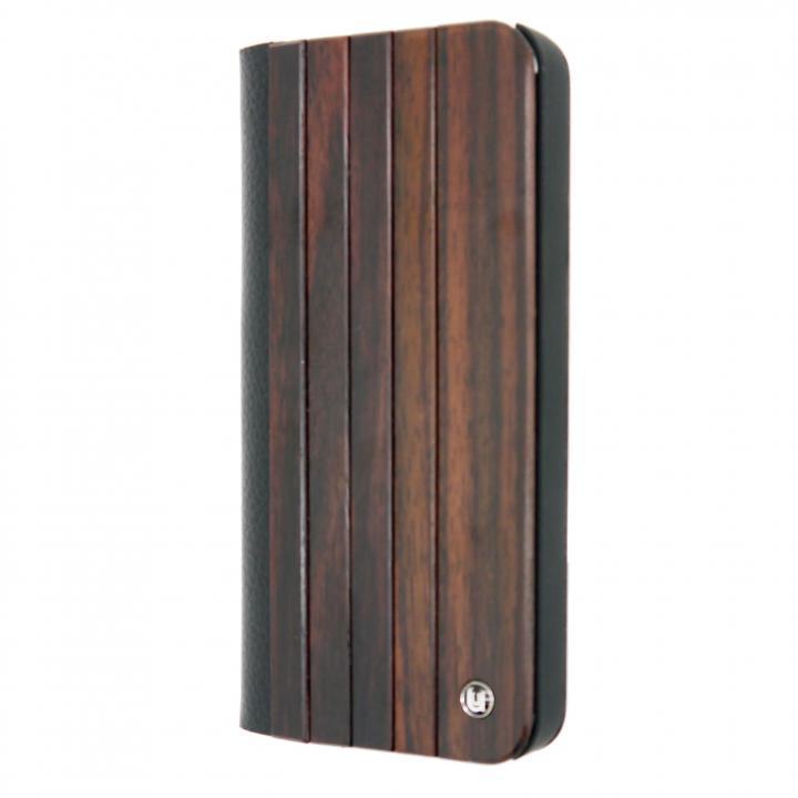 【iPhone SE/5s/5ケース】木と異素材のコンビネーション 手帳型ケース Panel design Black iPhone SE/5s/5ケース_0