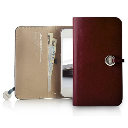 Leather Arc Wallet_iPhone5 手帳型ケース Claret