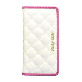 【iPhone6s/6ケース】Pinky Girls キルト手帳型ケース ホワイト/ピンク iPhone 6s/6