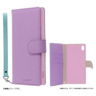 手帳型PUレザーケース BOOK C(キュート) パープル Xperia A4