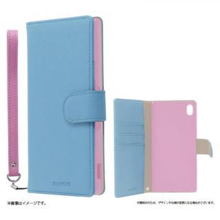 手帳型PUレザーケース BOOK C(キュート) ブルー Xperia A4