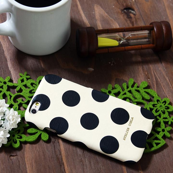 【iPhone6s/6ケース】デザインレザーカバー  水玉デザイン(大)  オフホワイト iPhone 6s/6_0