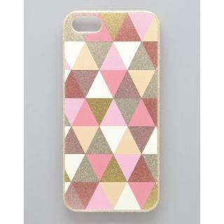 [強靭発売記念特価]フラワーリング トライアングルパターンケース ピンク iPhone SE/5s/5