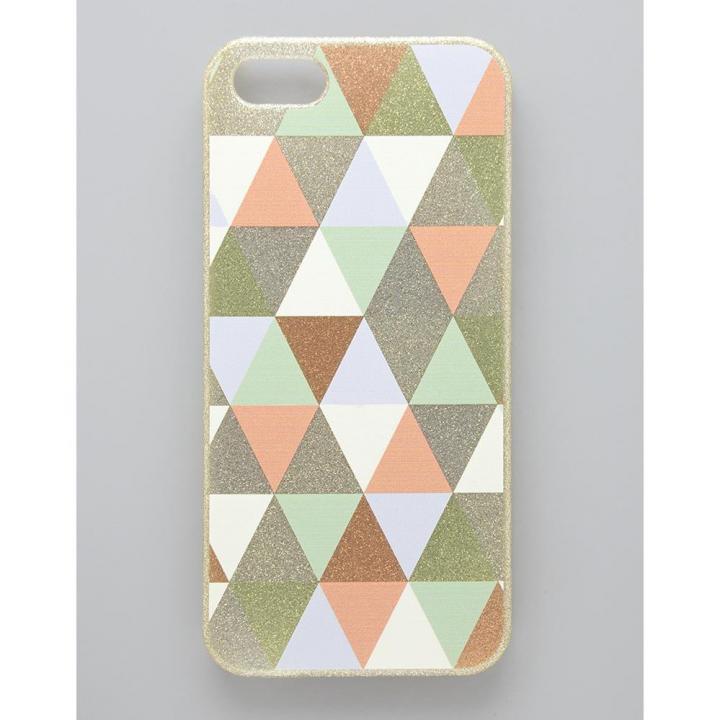 フラワーリング トライアングルパターンケース グリーン iPhone SE/5s/5