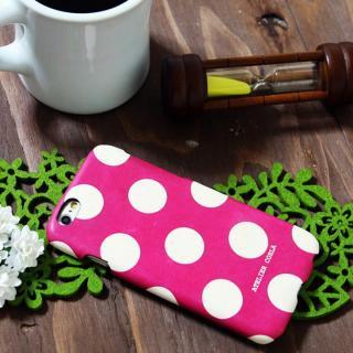 【iPhone6s/6ケース】デザインレザーカバー  水玉デザイン(大)  ディープピンク iPhone 6s/6