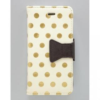 【iPhone6s/6ケース】フラワーリング 手帳型ケース ドット 箔押し/アイボリー iPhone 6s/6