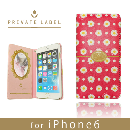 iPhone6s/6 ケース PRIVATE LABEL 手帳型ケース マーガレット レッド iPhone 6s/6_0