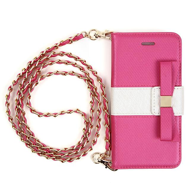 【iPhone6s/6ケース】VIVAYOU リボン手帳型ケース ピンク&ホワイト iPhone 6s/6_0