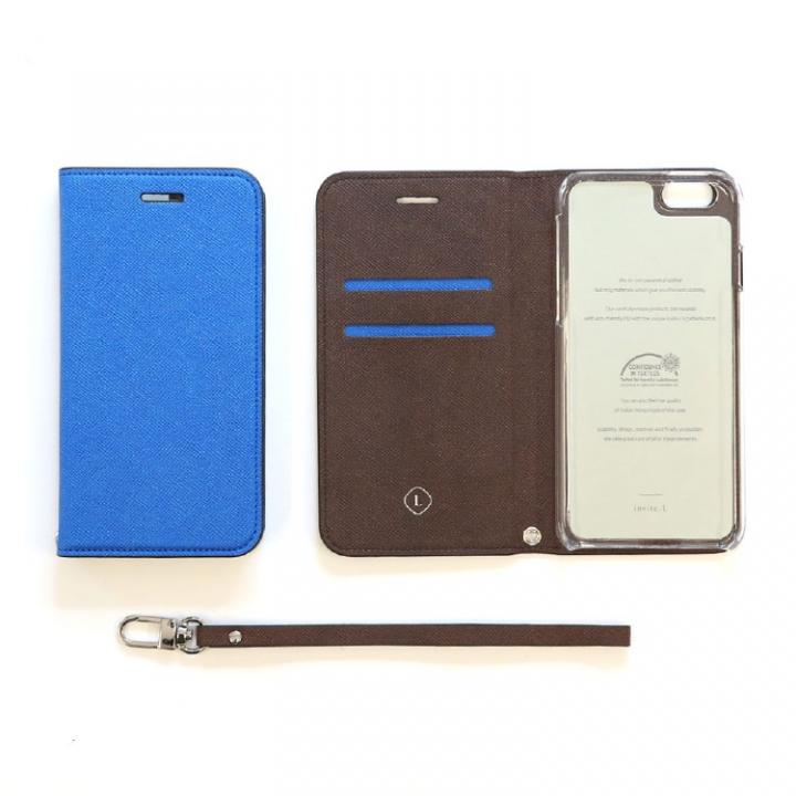 invite.L イタリアンPU手帳型ケース ブルー iPhone SE/5s/5