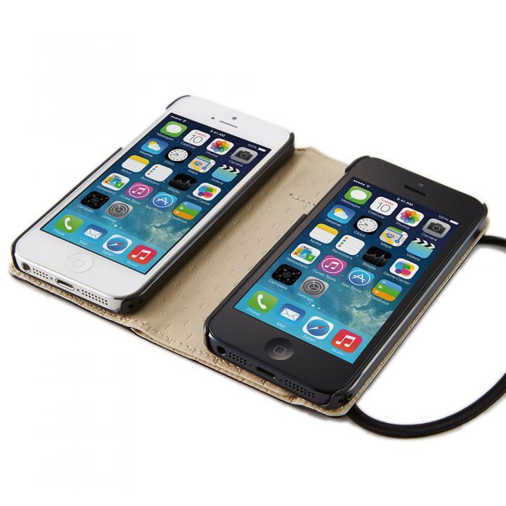 両開き手帳型ケース ブラック iPhone SE/5s/5ケース