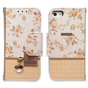 iPhone SE/5s/5 ケース Zipper flower オレンジ iPhone 5手帳型ケース_0