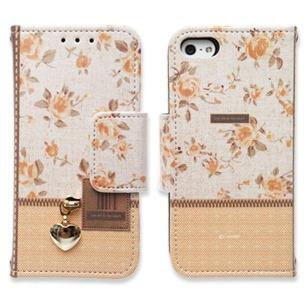 Zipper flower オレンジ iPhone 5手帳型ケース