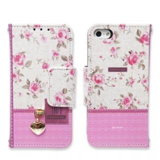 iPhone SE/5s/5 ケース iPhone5 手帳型ケース Zipper flower ピンク