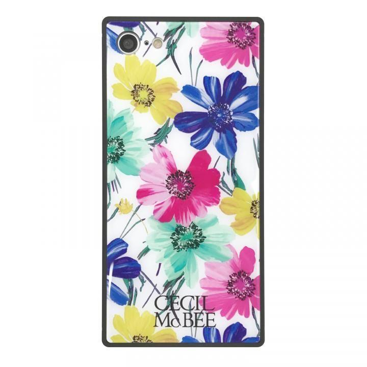 iPhone8/7 ケース CECIL McBEE 背面強化ガラスケース スイートピー/ホワイト iPhone SE 第2世代/8/7_0